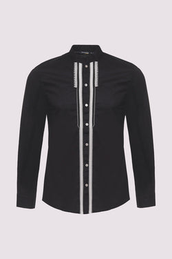 Zaher Long Sleeve Stand Up Button-Up Embroidered Men's Shirt in Black
