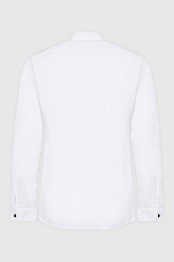 Zaher Long Sleeve Stand Up Button-Up Embroidered Men's Shirt in White