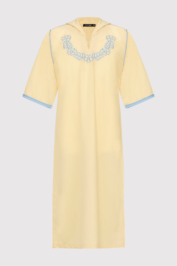 Djellaba Ayat Girl's Embroidered Cropped Sleeve Hooded Dress in Yellow (2-12yrs)