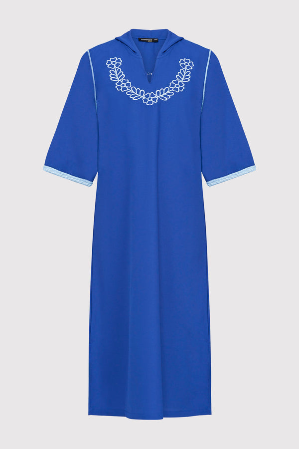 Djellaba Ayat Girl's Embroidered Cropped Sleeve Hooded Dress in Blue (2-12yrs)