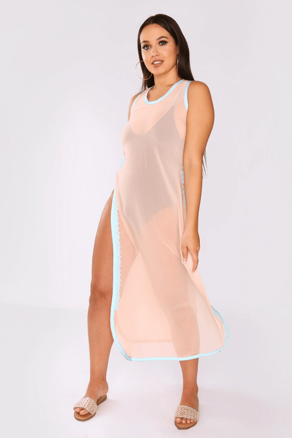 Ines High Slit High Neck Sheer Chiffon Cropped Maxi Dress Cover Up in Salmon
