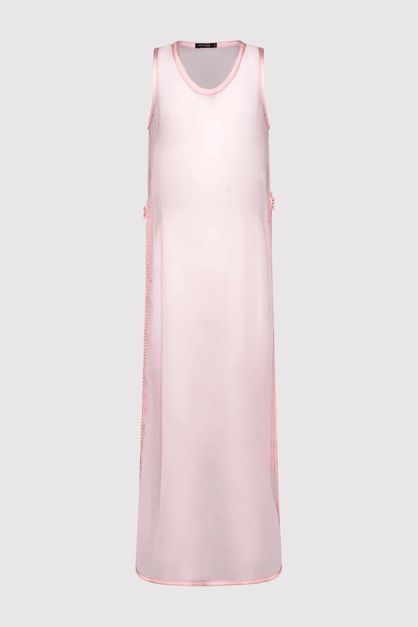 Ines High Slit High Neck Sheer Chiffon Cropped Maxi Dress Cover Up in Rose Pink