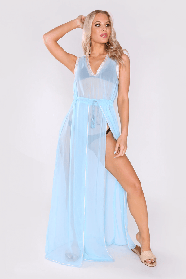 Kaftan Marianne Sleeveless V-Neck Adjustable Waist Dress with Slits Cover-Up in Sky