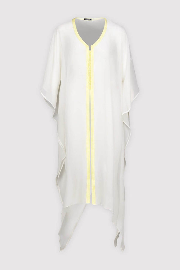 Kaftan Tressy Long Sleeve Sheer Dress Cover-Up in White