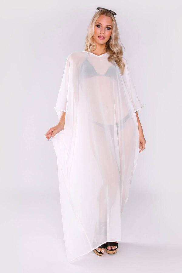 Kaftan Isalie Cropped Sleeve Sheer Long Maxi Dress Cover-up in White
