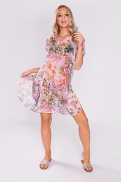 Kaftan Alyse Short Sleeve V-Neck Short Dress Cover Up in Pink Print