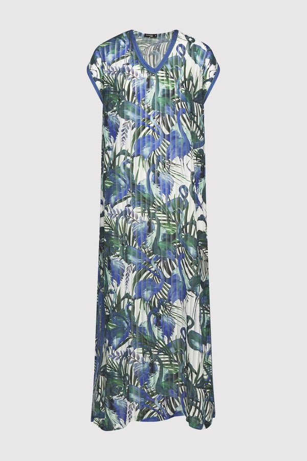 Kaftan Kellycia Short Sleeve V-Neck Cover-Up Maxi Dress in Blue and Green Print