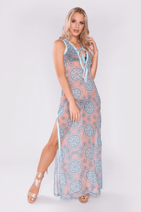 Kaftan Tyffanie Sleeveless Plunging Lace-Up Maxi Dress in Green
