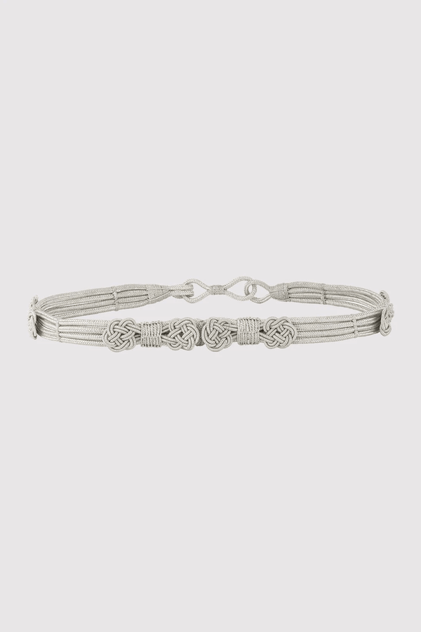 Lara Metallic Braided Rope Non-Leather Belt in Silver