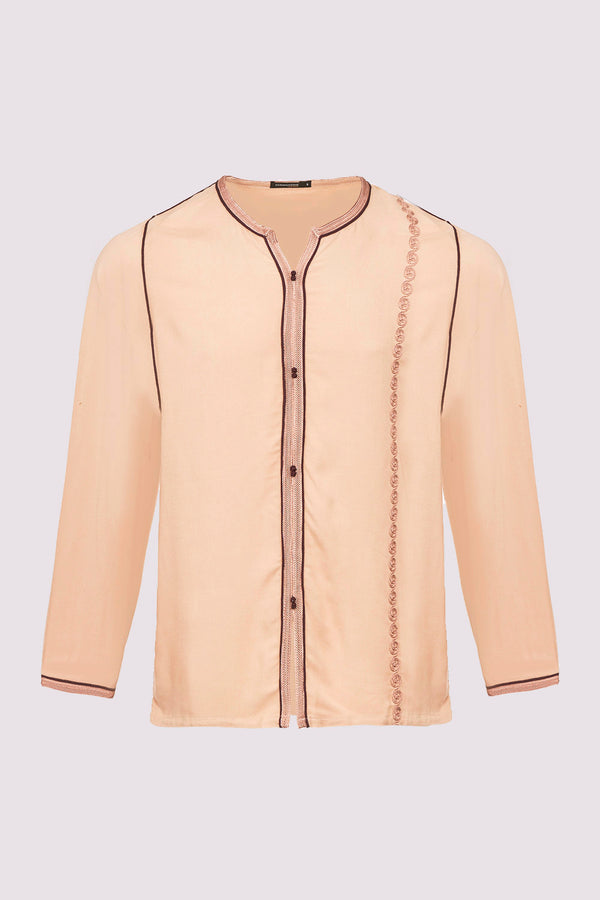 Houssni Embroidered Collarless Men's Button-Up Shirt in Beige
