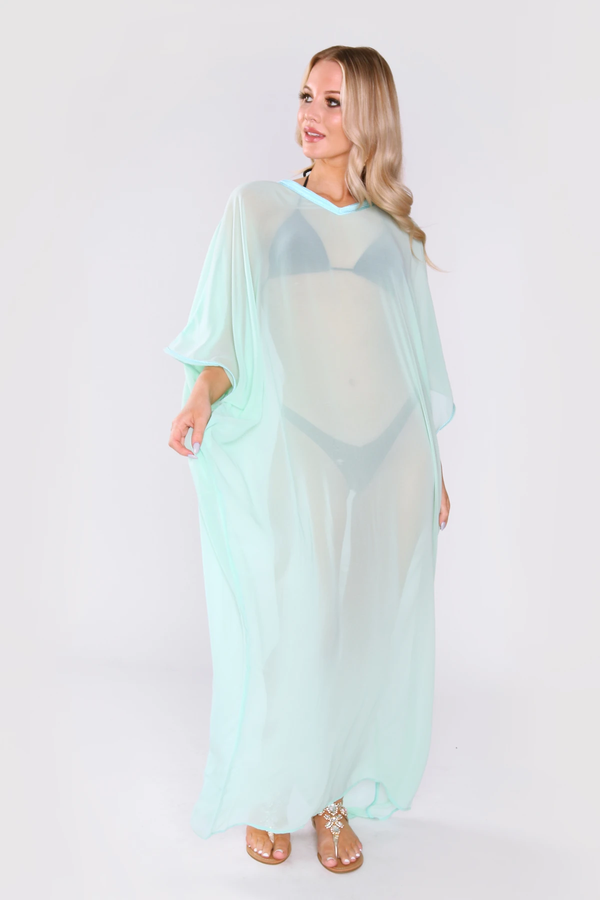 Kaftan Isalie Cropped Sleeve Sheer Long Maxi Dress Cover-up in Mint Green