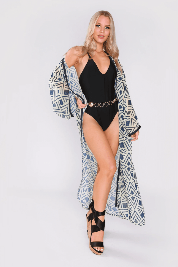 Maya Long Sleeve Kimono Lightweight Cape Cover Up Dress in Blue and Yellow Abstract Print
