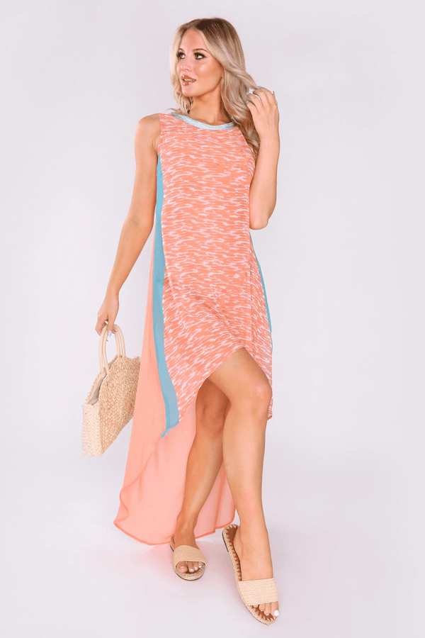 Fadda High Neck Sleeveless High Low Hemline Lightweight Maxi Dress in Coral Pink