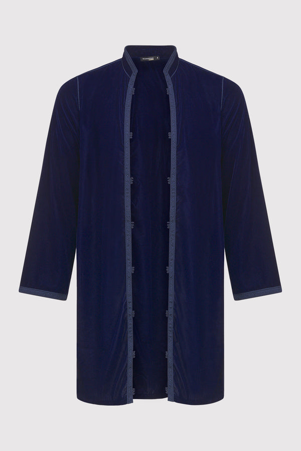 Aziz Longline Men's Velour Collarless Jacket in Marine Blue