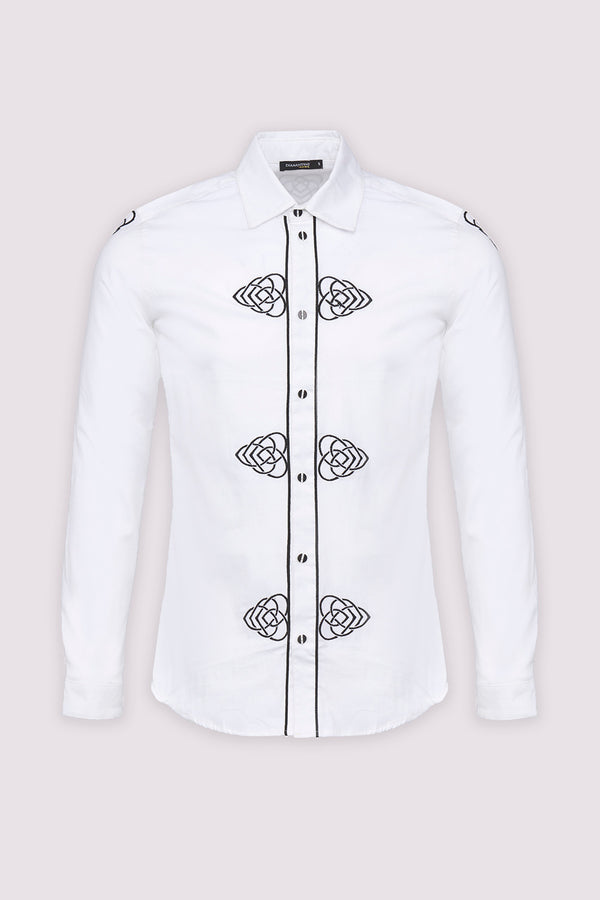 Sami Collared Long Sleeve Embroidered Men's Shirt in White