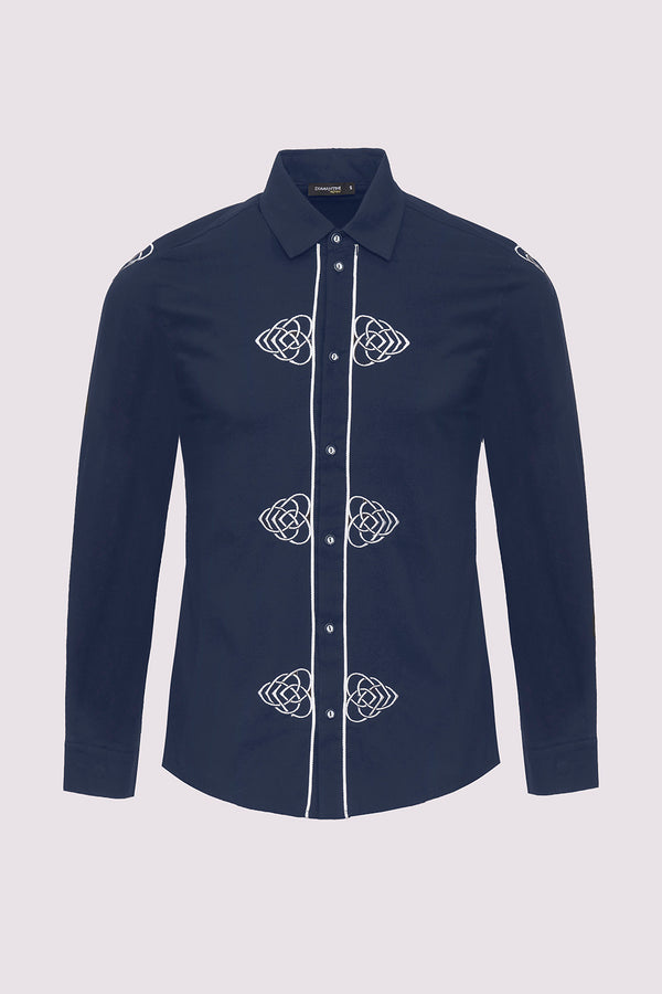 Sami Collared Long Sleeve Embroidered Men's Shirt in Marine
