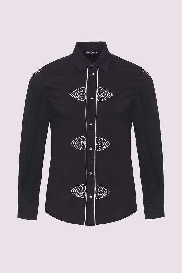 Sami Collared Long Sleeve Embroidered Men's Shirt in Black