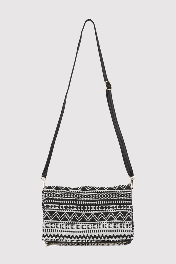 Alfredo Woven Print Long Faux Leather Strap Crossbody Bag in Black