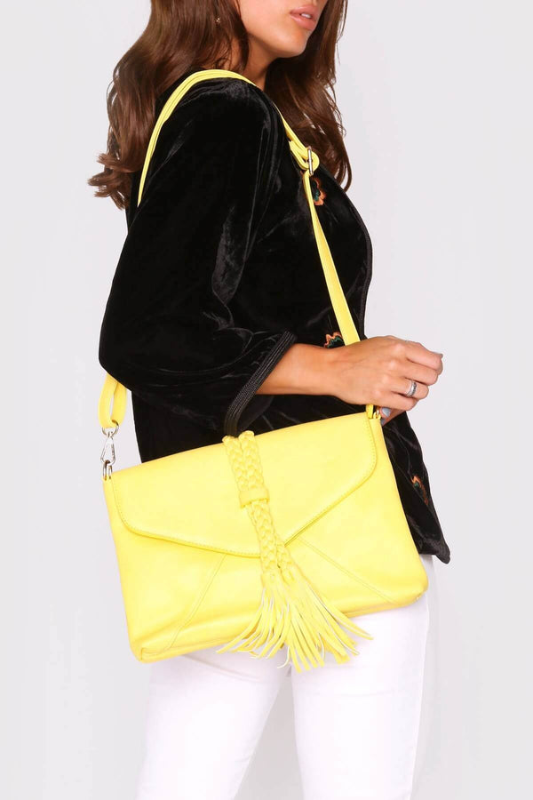 Alvaro Braid Tassel Crossbody Adjustable Strap Bag In Yellow