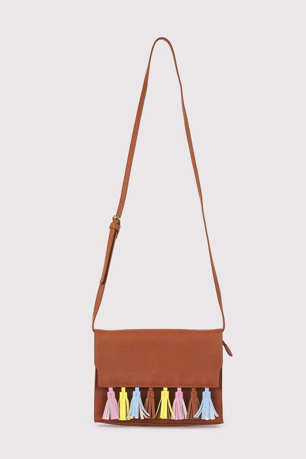 Avelino Faux Leather Cross Body Adjustable Strap Multi-Coloured Tassel Bag in Camel