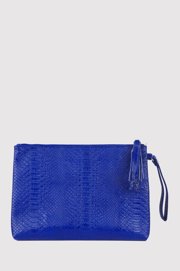 Americo Snake Print Wrist Strap Zipped Tassel Clutch Bag in Blue