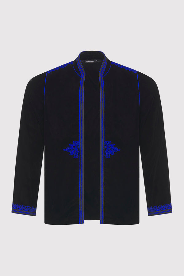 Gondole Velour Embroidered Long Sleeve Jacket in Black and Blue