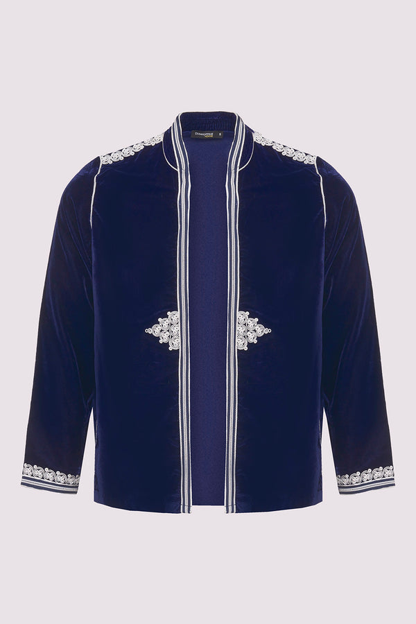 Gondole Velour Embroidered Long Sleeve Jacket in Marine Blue