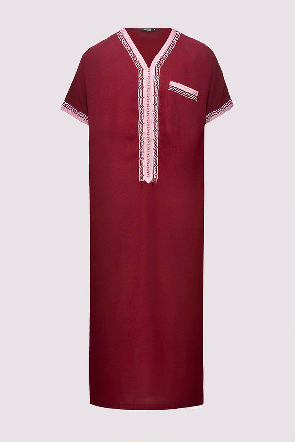 Gandoura Natura Men's Short Sleeve Full-Length Pocket Robe Thobe in Burgundy