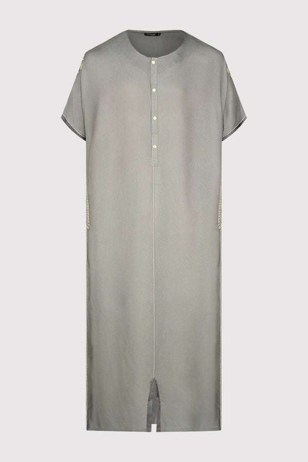 Gandoura Panda Men's Short Sleeve Button-Up Long Robe Thobe in Grey