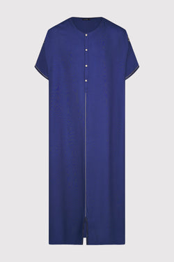 Gandoura Panda Men's Short Sleeve Long Button-Up Robe Thobe in Marine