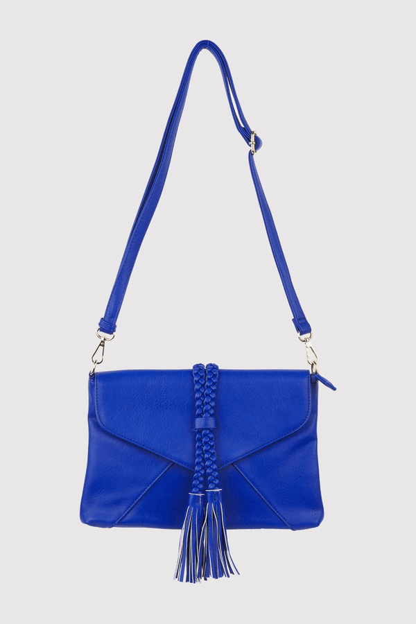 Alvaro Braid Tassel Crossbody Adjustable Strap Bag In Blue