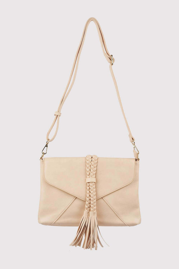 Alvaro Braid Tassel Crossbody Adjustable Strap Bag In Baby Pink