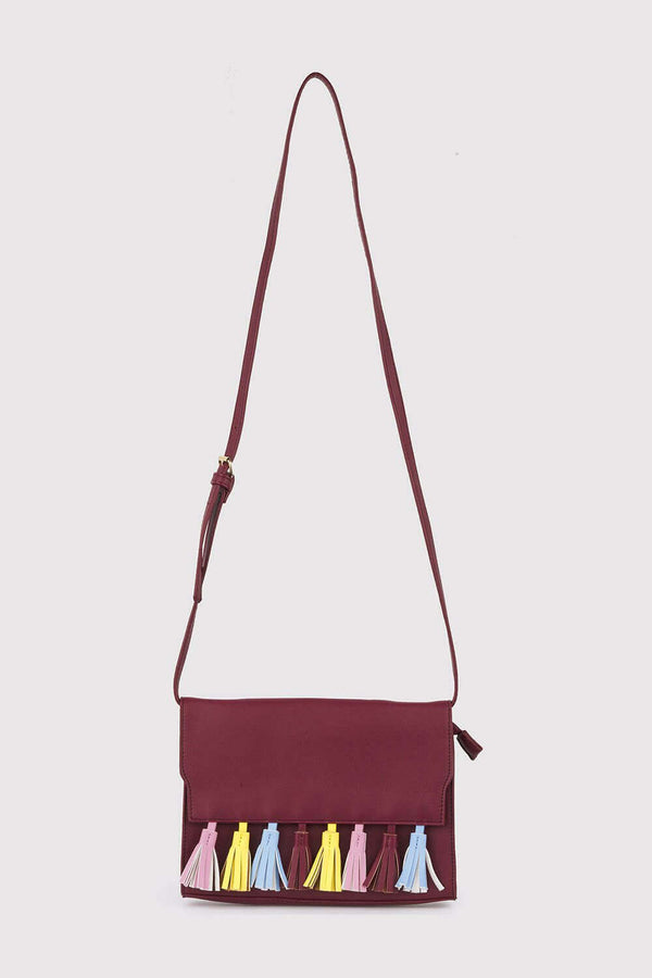 Avelino Faux Leather Cross Body Adjustable Strap Multi-Coloured Tassel Bag in Burgundy