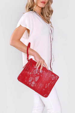 Americo Snake Print Wrist Strap Zipped Tassel Clutch Bag in Red