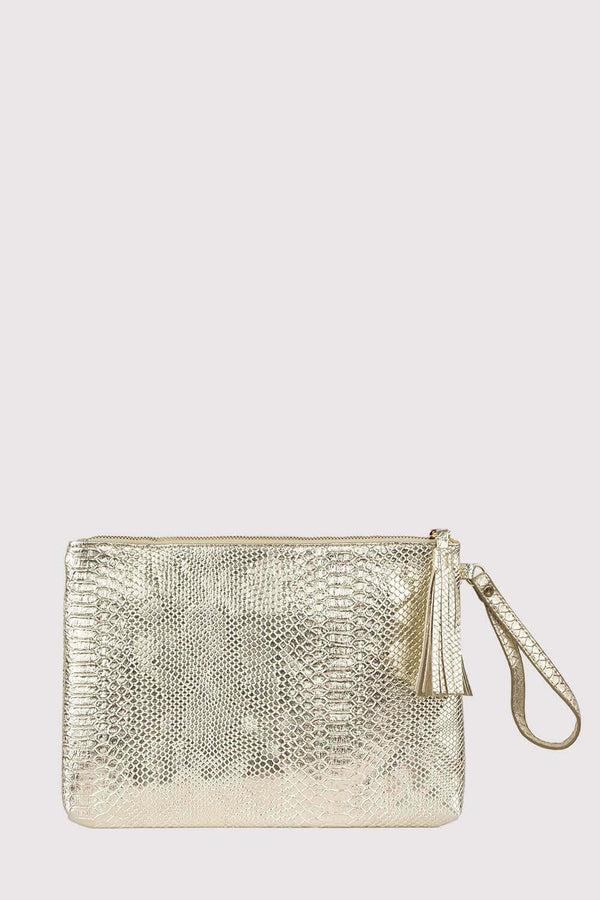 Americo Snake Print Wrist Strap Zipped Tassel Clutch Bag in Metallic Gold