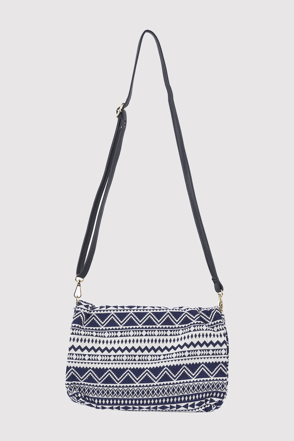Alfredo Woven Print Long Faux Leather Strap Crossbody Bag in Blue & White