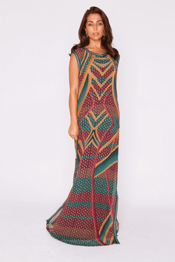 Lebssa Alia Sleeveless Full-Length Lightweight Maxi Dress in Green and Orange Print