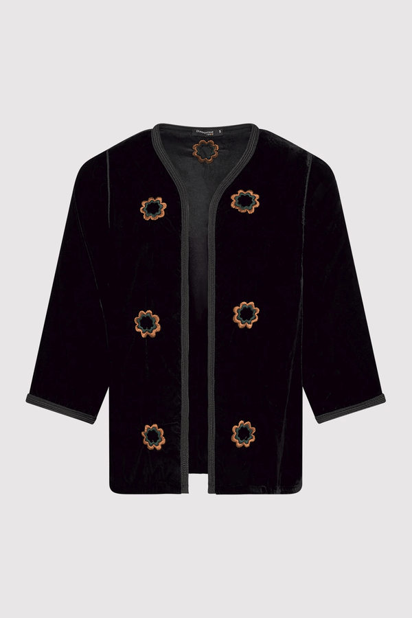 Roumaisa Velour Cropped Sleeve Longline Embroidered Jacket in Black