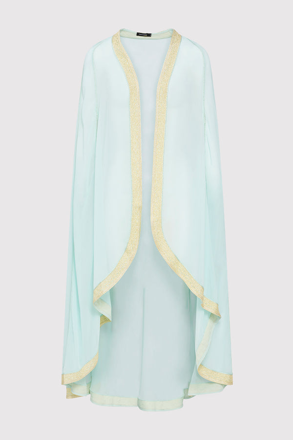 Amalthe Contrast Trim Lightweight Chiffon Sheer Cape Duster Jacket in Blue