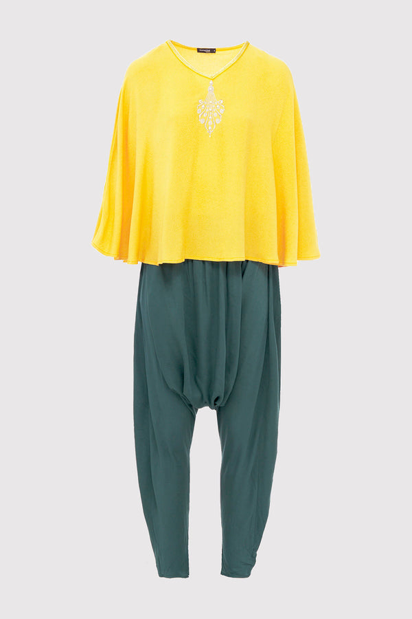 Jabador Anissa Long Batwing Sleeve Tunic Top and Harem Trousers Co-Ord Set in Yellow