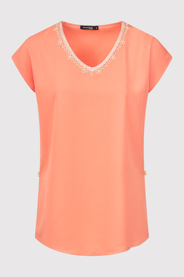 Daphine Contrast Trim Embroidered Casual Short Sleeve Top in Salmon