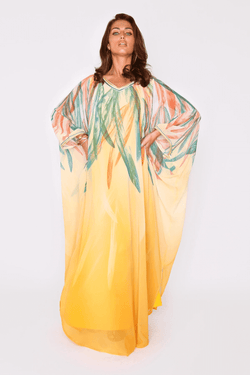 Kaftan Harmonie Lightweight V-Neck Long Batwing Sleeve Chiffon Maxi Dress in Orange and Green Print