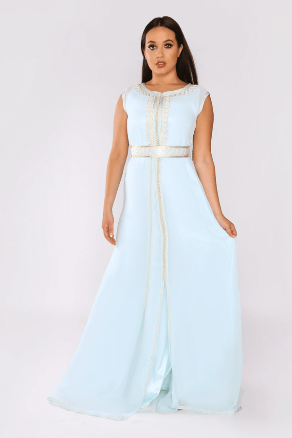 Lebssa Lamis Embroidered Sleeveless High Neck Occasion Wear Maxi Dress and Belt in Blue
