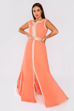 Lebssa Lamis Embroidered Sleeveless High Neck Occasion Wear Maxi Dress and Belt in Salmon