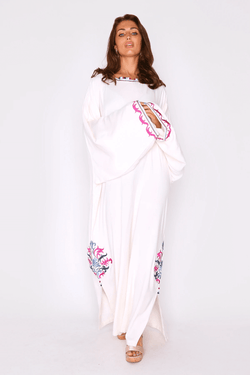 Kaftan Albina Colour Embroidered Long Sleeve Split Hem Maxi Dress in White