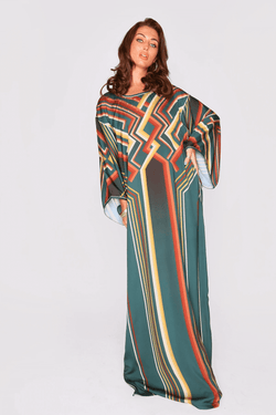Kaftan Ambrine Long Batwing Sleeve Lightweight Maxi Dress in Green and Orange Print