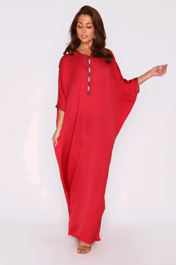 Kaftan Lorea Embroidered Neckline Batwing Sleeve Maxi Dress in Raspberry