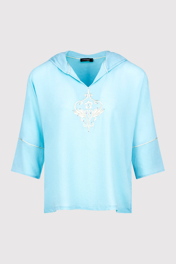 Katalina Embroidered Lightweight Casual Hooded Top in Blue