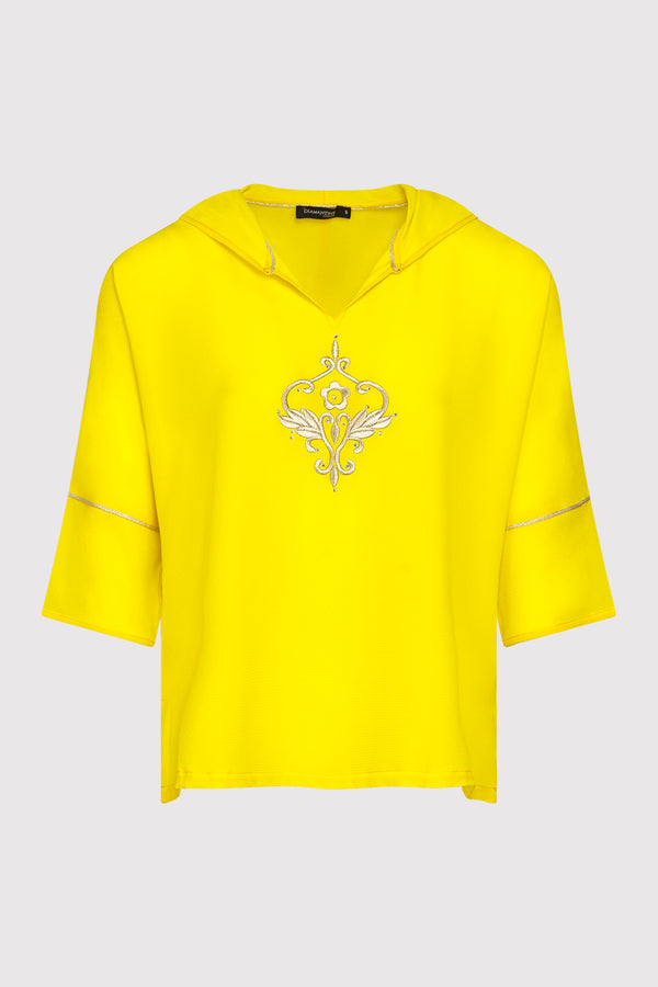 Katalina Embroidered Lightweight Casual Hooded Top in Yellow