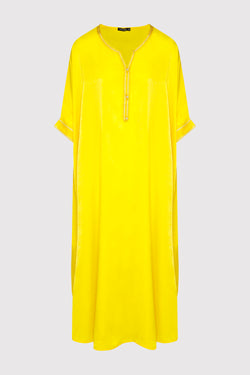Kaftan Sabine Short Sleeve Lightweight Maxi Dress in Yellow